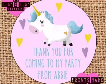 Personalised Unicorn party bag / sweet cone labels stickers