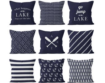 Lake House Decor, Nautical Lake Navy Blue Pillow Covers Set Mix and Match, Ocean Waves Fish Hooks Paddles Anchors Stripes Rope Pillow Cover