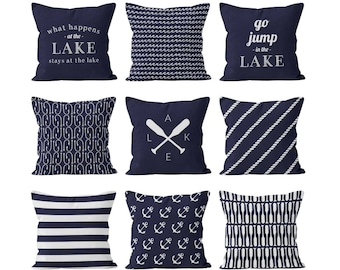 lake house decor nautical lake navy blue pillow covers set mix and match ocean