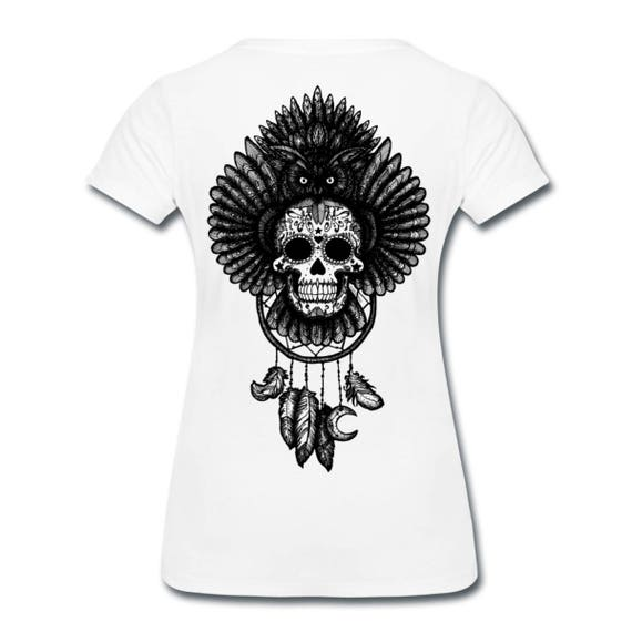 Dreamcatcher Owl Sugar Skull Totem Ethically Produced Womens Cotton T- Shirt With Back Print. Black, Grey Or White. Sizes S - 3XL Plus Sizes