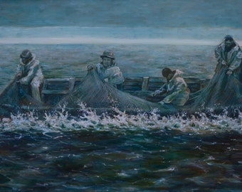 """Oil Painting Fishermen at the Sea Original Artwork Blue Green Home Decor Living Room Wall Decor Wall Hanging Art floral 30""""x20"""""""