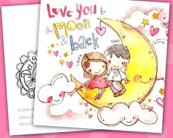 Anniversary Love You to The Moon & Back Couples card