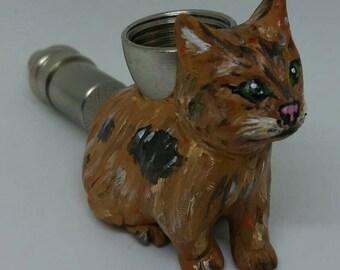 Kitty Cat Smoking Pipe Handmade