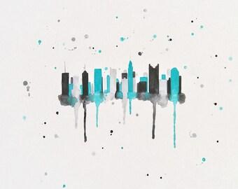 Columbus Skyline Canvas, Columbus Ohio art print, Columbus Skyline Art, Columbus Skyline Painting, Columbus Art, Skyline Art