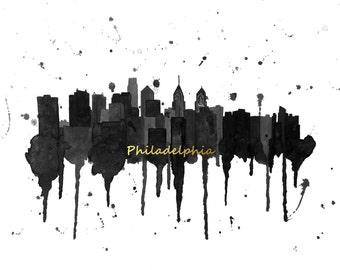 Philadelphia Skyline Art - Philadelphia Canvas Print - Philadelphia Skyline Painting - Philadelphia Wall Art - Philly Art
