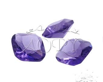 1pcs 10x10mm Amethyst Color Glass Jewel, Octagon Square Faceted, Diamond/Brilliant Cut, Pointed Back, Unfoiled, Cushion Shape, SR219BA