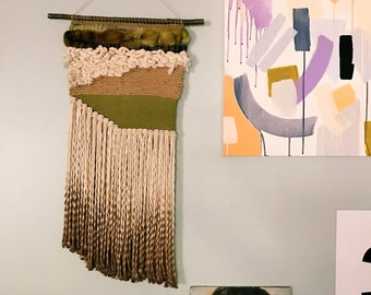 jungle boogie / wall hanging weaving tapestry with tassels / textile art