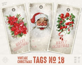 Holiday Gift Tags - Christmas Tags, Printable Christmas, Gift Wrapping, Hang Tags, Retro, Gift, Label, Vintage Christmas