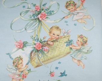 Vintage Baby Shower Wrapping Paper Digital Image Download Printable