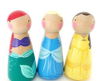 "3 Princess Peg Dolls // 3 1/2"" Princess Peg Dolls // Your choice"