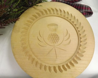 Shortbread Mould/ Mold with Thistle, Large, Wood Vintage Stanley Whyte