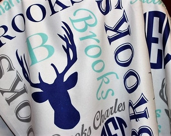 Personalized Baby Blanket ~ Deer Blanket ~ Monogram Blanket ~ Photo Prop ~ Name Blanket