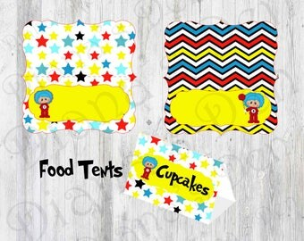 Dr. Seuss Inspired Food Tents/Dr. Seuss Food Place Set/Birthday Food Tents/Girl Party/Boy Party