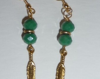 Green Faceted Rondelle, Antique Gold accents Wire Wrapped Earrings