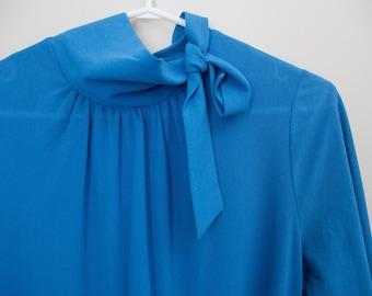 Blue Pleated Vintage 60s Dress