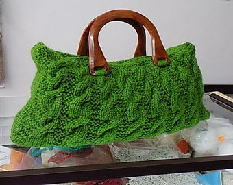 Green Hand Knitted Bag
