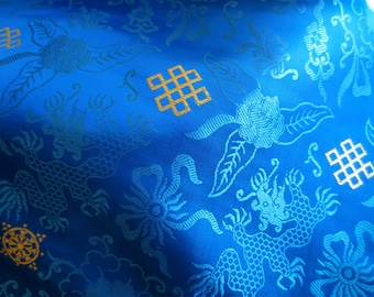 Bright Blue Silk Brocade