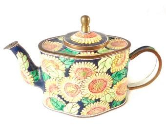 Sunflowers teapot - miniature enamel teapot - teapot - Trade + Aid teapot