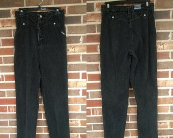 1980s Black  High Waisted Rockies Western Jeans, 10L