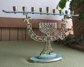 Vintage Brass Menorah Candle Holder Hanukkah Celebrations and Holiday Candelabra