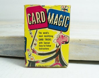 Card Magic Tricks 1954 Deck of Cards Magic Tricks Vintage Game Ages 8-14 Ed-U-Cards Original Box Instructions 35 Cards