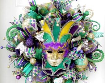 Deco Mesh Mardi Gras Wreath -Fat Tuesday Wreath -Jester Mask Wreath
