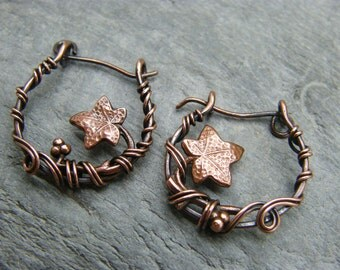 Hoop earrings ~ Copper hoops ~ Sleepers ~ Leaf jewelry ~ Ivy leaf earrings ~ Ivy leaf jewellery ~ Unusual hoops ~ Boho earrings ~ Hoops