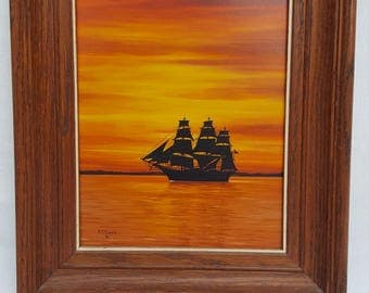 Vintage Oil on Masonite Florida Sunset Clipper Silhouette by Listed Artist Alfonso Toran
