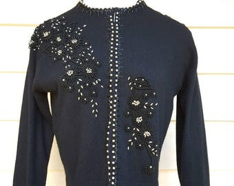Black Vintage 1950's 100% Cashmere Beaded Sweater