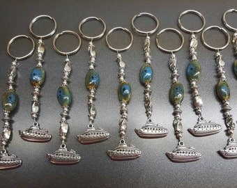 Set of 10 Cruiseship Cruise Beaded Keychains / Fish Extender Gifts