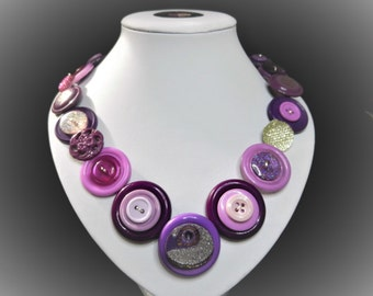 Button necklace - Purple Dazzler//beautiful buttons/gifts for her/button jewelry/Christmas gift/Mothers day/birthday present/OOAK