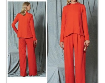 Vogue Sewing Pattern V1525 Misses' Diagonal-Seam Top and Pleated Pants