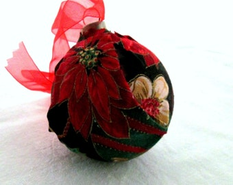 Fabric covered glass ornament EBC0002