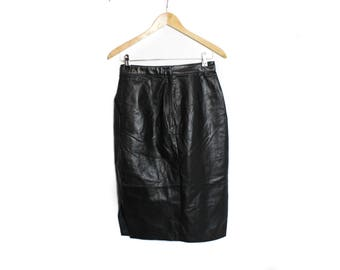 Leather skirt, Black skirt, Vintage skirt, High waist skirt, Long Leather skirt, Womens Vintage 90s skirt, Midi leather skirt / Small Medium