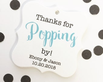 Thank You for Popping By Wedding Favor, Thank You Wedding Favor Tags, Thank You Hang Tags  (FS-370)