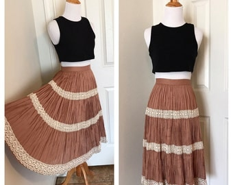 Vintage Mexican Skirt. Vintage Brown Boho Midi Skirt. Brown Cotton Skirt w/ Lace. Brown and Cream Skirt. Mid-Century Mexican Skirt.