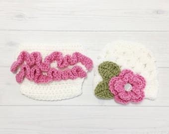 Ready Ship ! Newborn-3m Baby Girl Photo Prop Handmade Crochet Flower Beanie & Diaper Cover Set