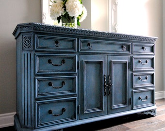 SOLD!!-Refinished antique blue sideboard/dresser!!