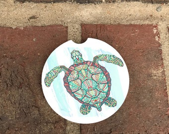Custom Colorful Turtle Watercolor Sandstone Auto Cup Holder Coasters (set of2)  Personalized Custom Car Coasters (set of2)Gift Ideas
