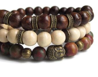 Buddha bracelet set, mens bracelet gift set of 3, wood bead bracelet, layering bracelets