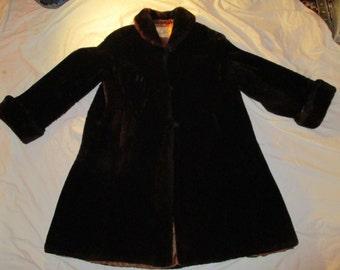 Vintage sheared beaver swing coat S/M