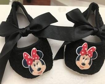 Black baby lace shoes, cute logo button black shoes, Minnie Mouse  black shoes.