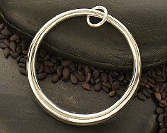 Large Sterling Silver Hollow Form Circular Pendant, 34X30MM