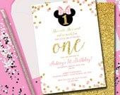 Minnie Mouse Invitation, Minnie Mouse Birthday, Birthday Invitation, Invitation, Birthday, Pink and Gold, 1st Birthday, Printable 5x7