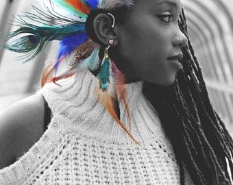 set ear cuff boucles d'oreilles bijou d'oreille en plumes multicolores pendentif plume metal