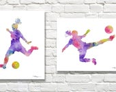 Set of 2 Girls Soccer Art Prints - Watercolor Painting - Wall Decor