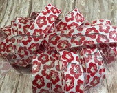 Red Flower Print Grosgrain Ribbon, 7/8 Ribbon by the Yard, Hibiscus Hawaiian ribbon, Ribbon for bows, Glitter sparkle ribbon, DIY bow holder