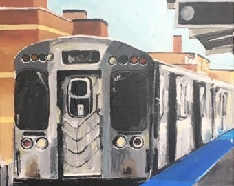 """Original Acrylic Painting Chicago Brown Line """"El"""" Train"""
