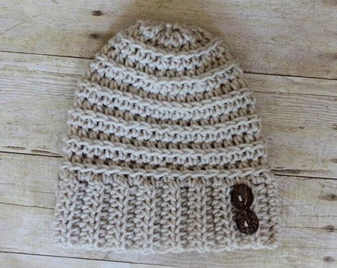 PDF Crochet Pattern - Andy Button Hat - Crochet Hat Pattern