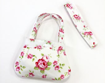 Rose print little girls purse toddler purse kids purse girl birthday gift toddler gift with matching headband child purse for little girl